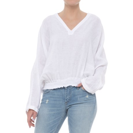 St. Tropez West Solid Linen Hoodie Shirt - Long Sleeve (For Women) in White