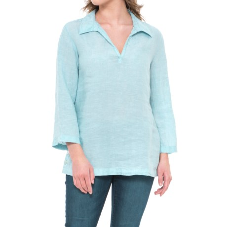 St. Tropez West Solid Linen Popover Shirt - 3/4 Sleeve (For Women) in Blue Surf