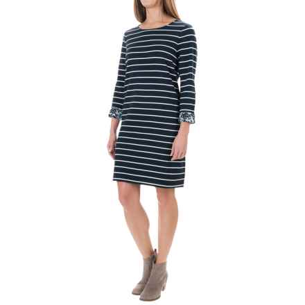 St. Tropez West Stripe Terry-Knit Dress - 3/4 Sleeve (For Women) in Navy/White W/Ditsy - Overstock