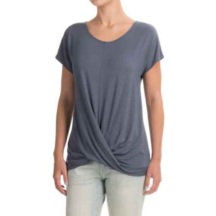 St. Tropez West Wrap-Front T-Shirt - Short Sleeve (For Women) in Faded Denim - Closeouts