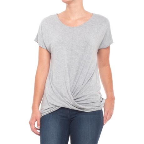 St. Tropez West Wrap-Front T-Shirt - Short Sleeve (For Women) in Medium Grey Heather