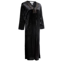 Stan Herman Crushed Velvet Robe - 3/4 Sleeve (For Women) in Black - Closeouts
