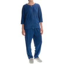 Stan Herman Micro Terry Lounge Set - 2-Piece, 3/4 Sleeve (For Women) in Navy - Closeouts