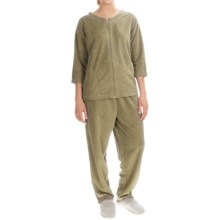 Stan Herman Micro Terry Lounge Set - 2-Piece, 3/4 Sleeve (For Women) in Tan - Closeouts