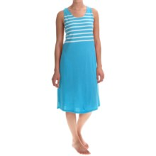 Stan Herman Short Nightgown - Sleeveless (For Women) in Turquoise Stripe - Closeouts