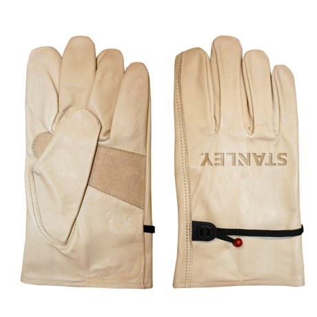 Stanley Cowhide Driver Work Gloves - Leather (For Men and Women) in Cream