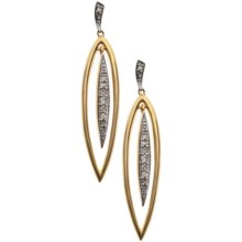 Stanley Creations 10K Gold Long Leaf Earrings - Diamond Accents in Gold - Closeouts