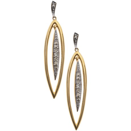 Stanley Creations 10K Gold Long Leaf Earrings - Diamond Accents in Gold