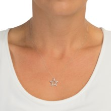 Stanley Creations 10K Gold Star Necklace - Diamond Accents (For Women) in White Gold Star - Closeouts