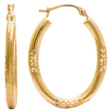 Stanley Creations 14K Gold Matte Hoop Earrings - Diamond Cut in Gold - Closeouts