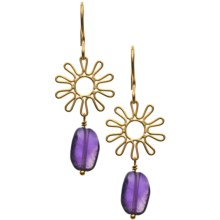 Stanley Creations 14K Gold-Plated Flower Earrings - Amethyst in Gold/Amethyest - Closeouts