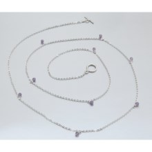 Stanley Creations Bead Station Necklace - Sterling Silver in Sterling Silver/Amethyst - Closeouts