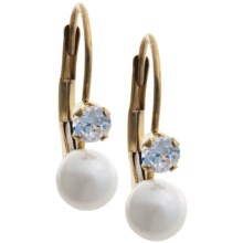 Stanley Creations Cubic Zirconia and Pearl Earrings - 14K Gold in Gold - Closeouts