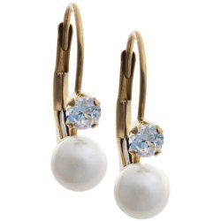 Stanley Creations Cubic Zirconia and Pearl Earrings - 14K Gold in Gold