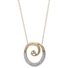 Stanley Creations Curling Circle Necklace - 10K Yellow Gold, Diamond Accents in Gold - Closeouts