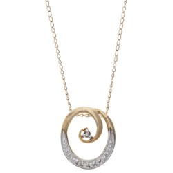 Stanley Creations Curling Circle Necklace - 10K Yellow Gold, Diamond Accents in Gold