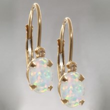 Stanley Creations Diamond Accent Lever-Back Earrings - 14K Gold in Oval Created Opal - Closeouts