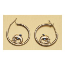 Stanley Creations Dolphin Hoop Earrings - 10K Gold, Cubic Zirconia in Gold - Closeouts