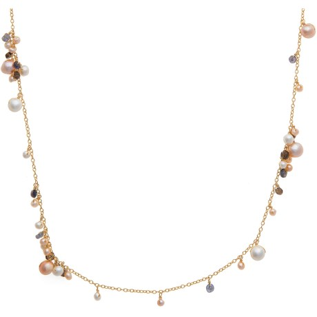 Stanley Creations Long Gemstone Cluster Necklace in Gold W/Smokey Quartz /Lolite & Pearl