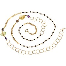 Stanley Creations Long Multi-Stone Chain Necklace - 18K-Gold-Plated Sterling Silver in Gold/Multi - Closeouts