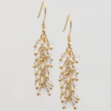 Stanley Creations Lucite Cluster Drop Earrings in Gold W/Clear Lucite - Closeouts