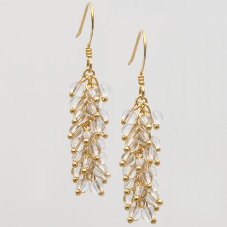 Stanley Creations Lucite Cluster Drop Earrings in Gold W/Clear Lucite