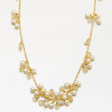 Stanley Creations Pearl and Citrine Cluster Necklace in Gold W/Citrine/Pearl
