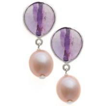 Stanley Creations Pearl Drop Earrings - Sterling Silver in Amethyst - Closeouts