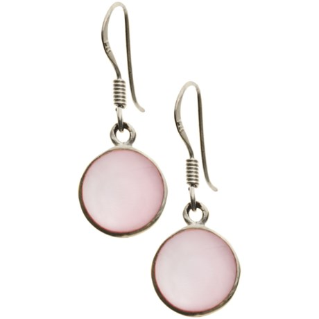 Stanley Creations Pink Mother-of-Pearl Earrings in Pink Mop/Silver