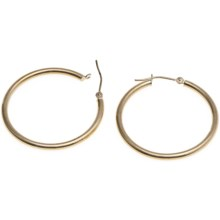 "Stanley Creations Polished Hoop Earrings - 10K Gold, 1-1/8"" in Gold - Closeouts"