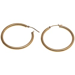 "Stanley Creations Polished Hoop Earrings - 10K Gold, 1-3/8"" in Gold"