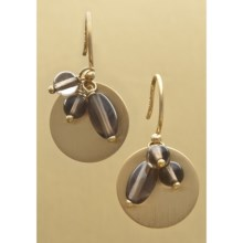Stanley Creations Quartz Disc Drop Earrings in Gold W/Smokey Quartz - Closeouts