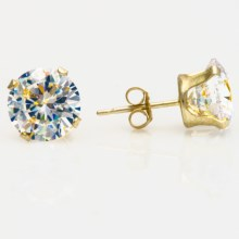 Stanley Creations Round Cubic Zirconia Earrings - 8mm in Clear Cz/Gold - Closeouts