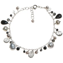 Stanley Creations Rutilated Black Onyx and Glass Bracelet - Sterling Silver in Silver/Black Onyx/Clear - Closeouts
