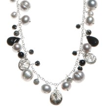 Stanley Creations Rutilated Black Onyx and Glass Necklace - Sterling Silver in Silver/Black Onyx/Clear - Closeouts