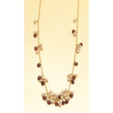 Stanley Creations Short Cluster Necklace - Garnet and Pearl in Gold W/Garnet/Pearl - Closeouts
