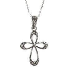Stanley Creations Small Cross Charm Necklace - Sterling Silver, Marcasite in Sterling Silver - Closeouts