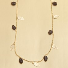 Stanley Creations Smoky Quartz and Gold Leaf Necklace in Gold - Closeouts
