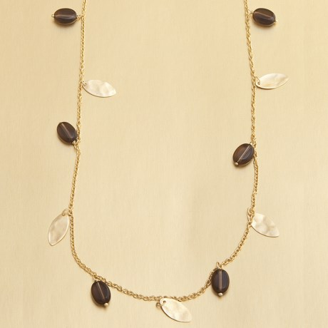 Stanley Creations Smoky Quartz and Gold Leaf Necklace in Gold
