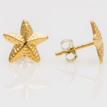 Stanley Creations Starfish Earrings - Gold-Plated Silver in Gold - Closeouts