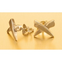 "Stanley Creations ""X"" Stud Earrings - Gold Over Sterling Silver in Gold - Closeouts"