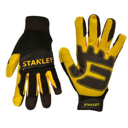 Stanley Goatskin Heavy-Duty Work Gloves (For Men and Women) in Black/Yellow - Closeouts