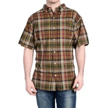 Stanley Madras Plaid Shirt - Button Front, Short Sleeve (For Men) in Cement - Closeouts