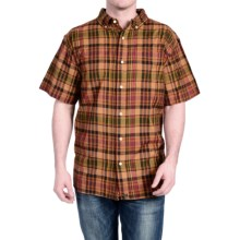 Stanley Madras Plaid Shirt - Button Front, Short Sleeve (For Men) in Orange - Closeouts