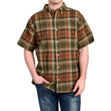 Stanley Madras Plaid Shirt - Button Front, Short Sleeve (For Men) in Popcorn - Closeouts
