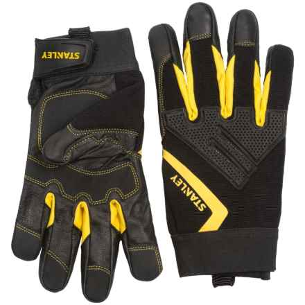 Stanley Mechanics Goatskin Knuckle Guard Work Gloves (For Men and Women) in Black/Yellow - Closeouts