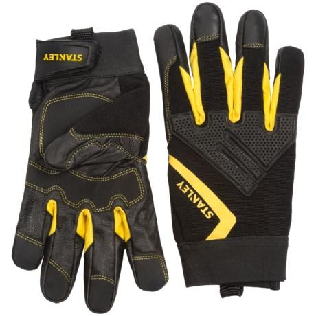 Stanley Mechanics Goatskin Knuckle Guard Work Gloves (For Men and Women) in Black/Yellow