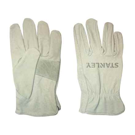 Stanley Pigskin Driver Work Gloves - Leather (For Men and Women) in White - Closeouts