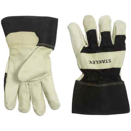 Stanley Premium Grain Pigskin Leather Work Gloves (For Men and Women) in Black/Tan - Closeouts