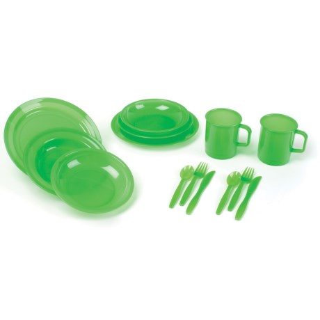 Stansport BPA-Free Polyware Picnic Set - 14-Piece, 2-Person in Green